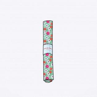 Coupon coton Petit Pan Fleurs des Iles vert d'eau