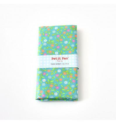 Coupon coton enduit Petit Pan Peace and Love Azur