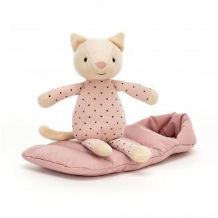 Chat Snuggler et son sac de couchage - Jellycat