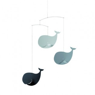 Mobile baleines heureuses gris Flensted