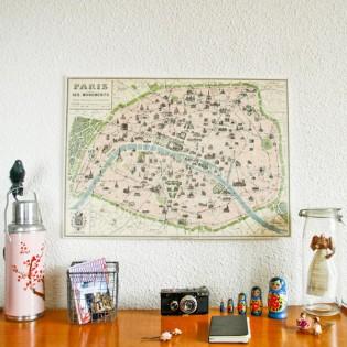 Carte de paris vintage (métro parisien et ses monuments) - Cavallini & Co