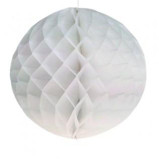 Boule papier en nid d'abeille blanc 25 cm