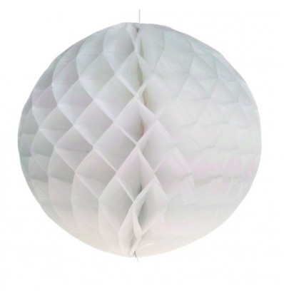 Boule papier en nid d'abeille blanc