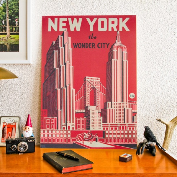 affiche new york vintage. Black Bedroom Furniture Sets. Home Design Ideas