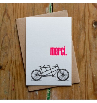 Carte Letterpress Merci vélo