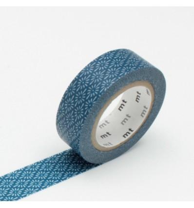 Masking tape motif fleurs bleu
