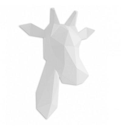 Kit de pliage papier trophée girafe blanc - Assembli