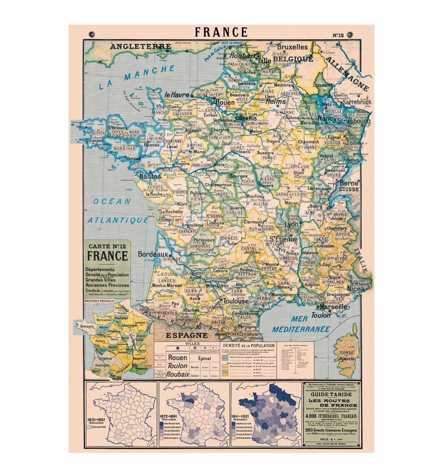 carte de france vintage